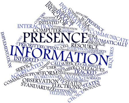 Abstract word cloud for Presence information with related tags and terms Stock Photo - 17463955