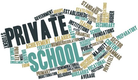 financial institutions: Abstract word cloud for Private school with related tags and terms