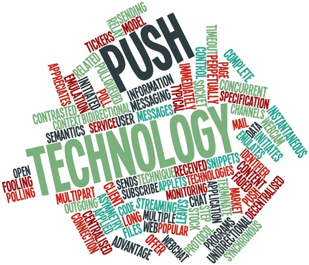 concurrent: Abstract word cloud for Push technology with related tags and terms