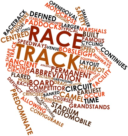 Abstract word cloud for Race track with related tags and terms