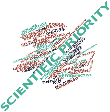 laud: Abstract word cloud for Scientific priority with related tags and terms Stock Photo