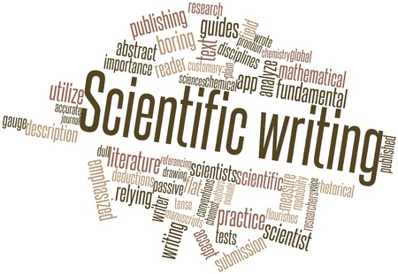 publishing: Abstract word cloud for Scientific writing with related tags and terms Stock Photo
