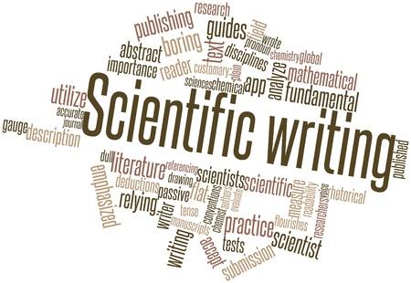 metodo cientifico: Nube palabra abstracta para la escritura científica con etiquetas y términos relacionados Foto de archivo