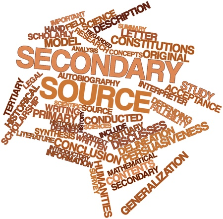 Abstract word cloud for Secondary source with related tags and terms Stock Photo - 17463966