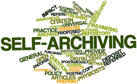 spontaneously: Abstract word cloud for Self-archiving with related tags and terms Stock Photo