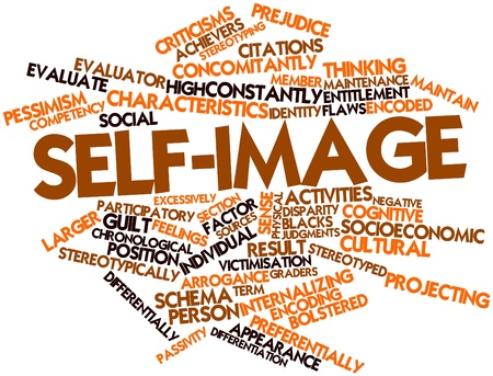 chronological: Abstract word cloud for Self-image with related tags and terms Stock Photo