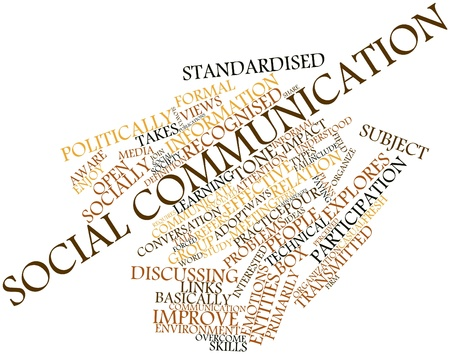recognised: Abstract word cloud for Social communication with related tags and terms Stock Photo