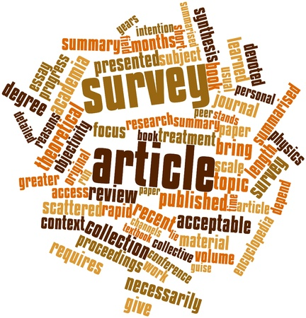 Abstract word cloud for Survey article with related tags and terms