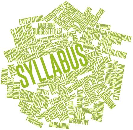 soumis: Nuage de mot abstrait pour Syllabus avec des étiquettes et des termes connexes