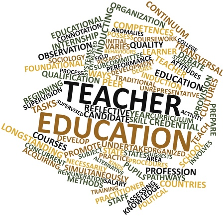 coursework: Abstract word cloud for Teacher education with related tags and terms Stock Photo