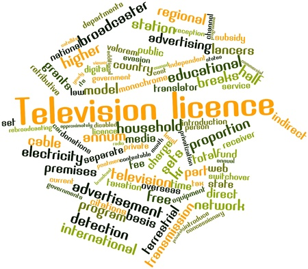 approximately: Abstract word cloud for Television licence with related tags and terms