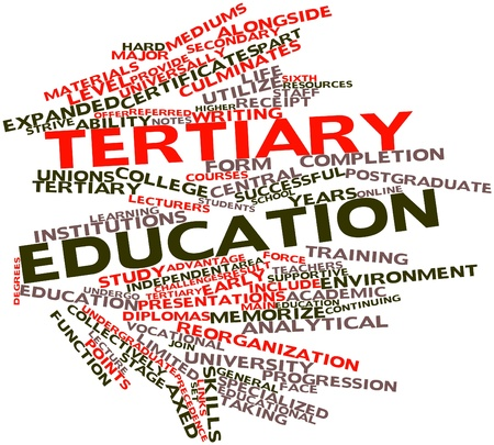 tertiary: Abstract word cloud for Tertiary education with related tags and terms