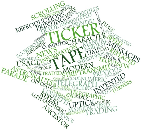 summaries: Abstract word cloud for Ticker tape with related tags and terms