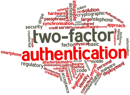 vulnerable: Abstract word cloud for Two-factor authentication with related tags and terms Stock Photo