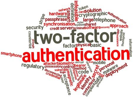 Abstraktes Wort-Wolke für Zwei-Faktor-Authentifizierung mit verwandte Tags und Begriffe Lizenzfreie Bilder