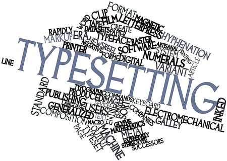 publishers: Abstract word cloud for Typesetting with related tags and terms