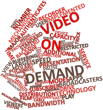 latency: Abstract word cloud for Video on demand with related tags and terms Stock Photo