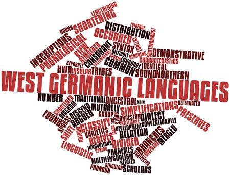 retained: Nube palabra abstracta para West lenguas germánicas con etiquetas y términos relacionados Foto de archivo