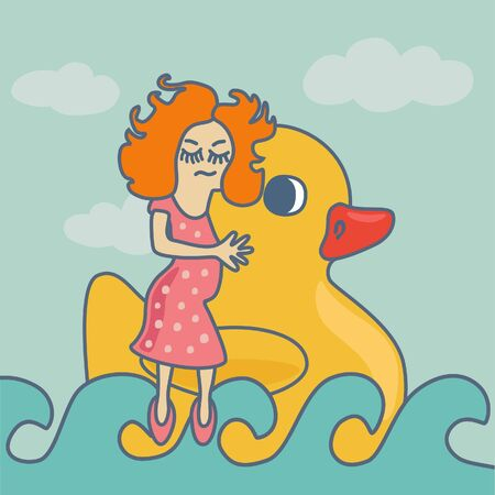 plastik: Cute girl with aCute girl with a rubber yellow duck rubber yellow duck