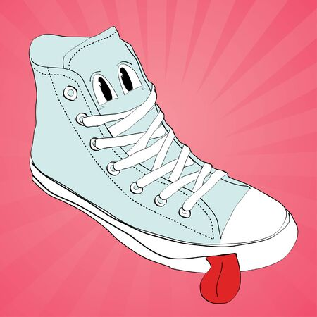 Sneakers with eyes on pink background