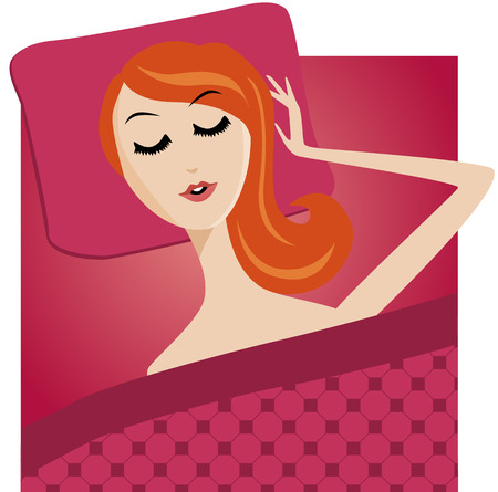 sleeping girl: sleeping girl character cartoon girl bed isolated