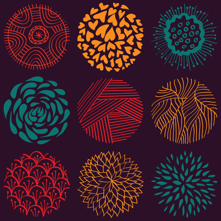 Vector  hand drawn colored circle seamless pattern