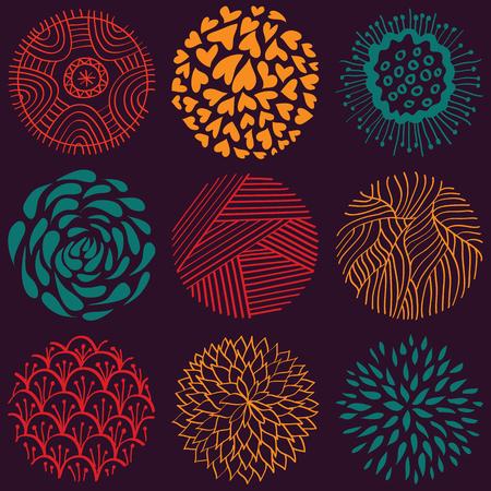 forme: Vector hand cercle coloré dessiné seamless