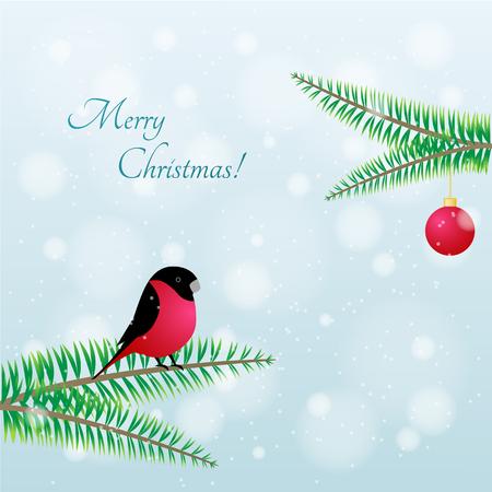 bullfinch: Bullfinch Christmas Bird. Vector Bullfinch on branch of mountain ash Illustration