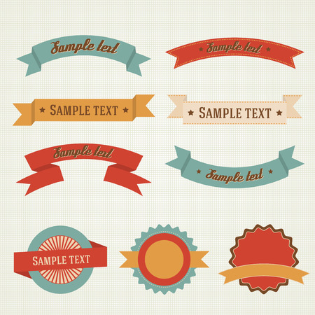 Vintage, retro flat badges, labels design set Illustration