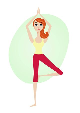 flexible girl: attractive women exercising yoga tree asana posture standing on one leg Illustration