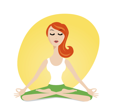 advantages: Yoga advantages. Cute meditating girl in cartoon style. Illustration