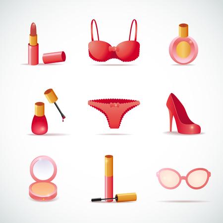 designer bag: Fashion icons Make-up shoe underwear cosmetic set