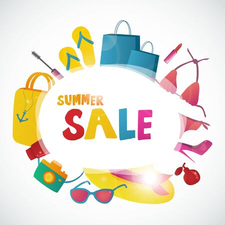 clearance: Summer Sale collection. Vector background with sun. Text design.
