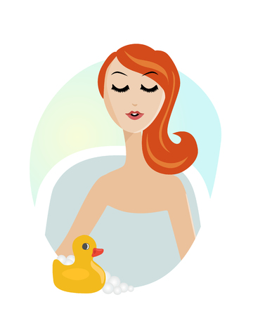 woman bath: Pretty woman with white towel on her head taking a relaxing bubble bath in tub with rubber duck