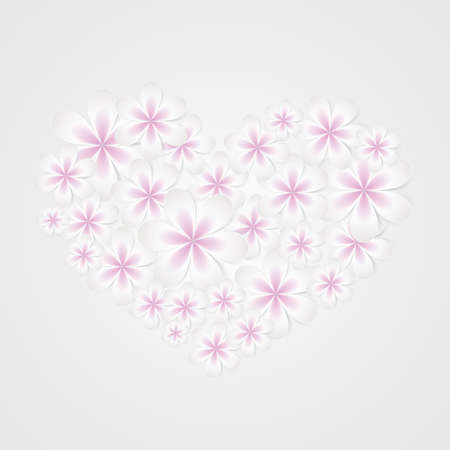 floral heart: Floral heart shape vector design template icon