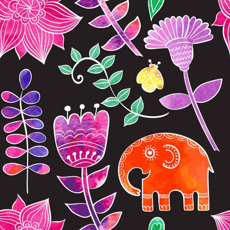 book case: Vintage graphic vector cute ethnic elephant seamless pattern. Can be used for a book, textile, prints, phone case, greeting card, business card