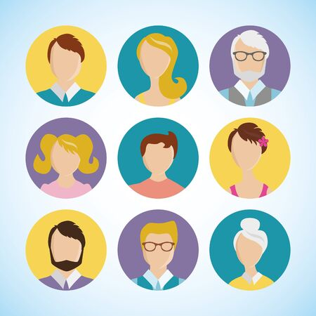 Vector design elements flat icon set people face avatar