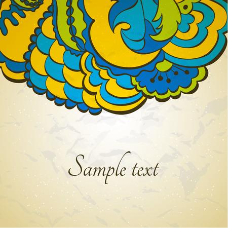 동부 스타일의 꽃 장식 카드입니다. 스톡 콘텐츠 - 80493532