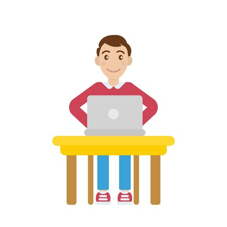 Man with laptop illustration.