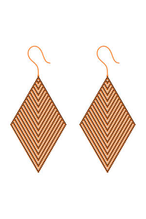 Two rhombus-shaped earrings made alternately of orange and brown 3D cubes inserted in the shape of the letter V Vektoros illusztráció