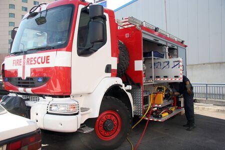 Fire truck. Fire rescue truck. Fire brigade Editorial