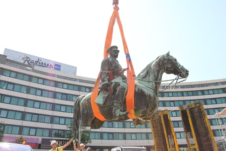 Disassembly for basic cleaning the statue of Tsar Osvoboditel , monument of King Liberator - Russian king Alexander II , built in 1907 year, in Sofia, Bulgaria � sept 5,2012. Dismantlement of monument of King Liberator �Osvoboditel� in front the Bulgarian