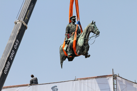 "Disassembly for basic cleaning the statue of Tsar Osvoboditel , monument of King Liberator - Russian king Alexander II , built in 1907 year, in Sofia, Bulgaria – sept 5,2012. Dismantlement of monument of King Liberator ""Osvoboditel"" in front the Bulgarian parliament."