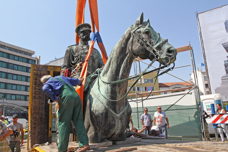 "Disassembly for basic cleaning the statue of Tsar Osvoboditel , monument of King Liberator - Russian king Alexander II , built in 1907 year, in Sofia, Bulgaria – sept 5,2012. Dismantlement of monument of King Liberator ""Osvoboditel"" in front the Bulgarian"
