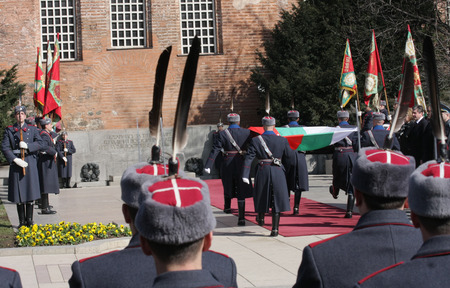 Officials, military personal and common people take part in celebration for National day of Bulgaria -  the Liberation Day on monument of The Unknown warrior in Sofia, Bulgaria - on March 3, 2010