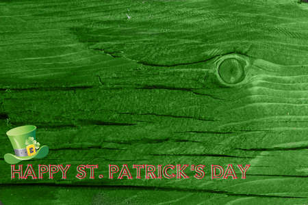 Green wood texture background. Saint Patrick's day. St. Patrick background. Green wood texture background with holiday decoration. Copy space for your text. Empty space