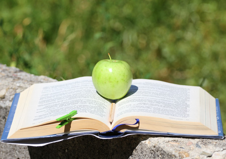 Fresh green apple on an open book outdoor in the grass. Time for school. Learn and healthy food concept. Apple and a book. Open schoolbook. Open manual and fruit outdoor. Nature and education. Stock Photo