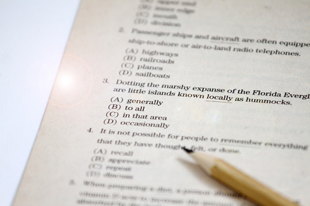 TEST. English test choose the right answer. English grammar test sheet. Multiple choice test. Exam for students in school, college and university. USA or English Education concept. english exerciser and answer sheet
