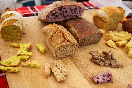 Homemade healthy bread gluten free. Colorful bread made from healthy cereals.
