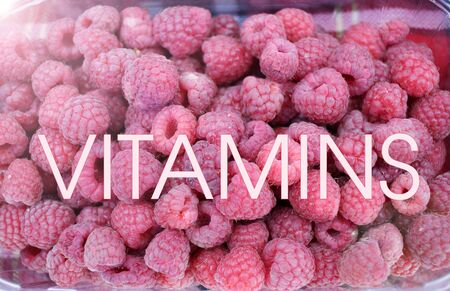 Raspberry. Raspberries background texture. Full frame of fruits. Vitamins and diet concept. Healthy eating. VITAMINS 写真素材